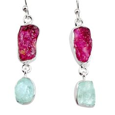 15.55cts natural pink tourmaline rough 925 silver dangle earrings p94798