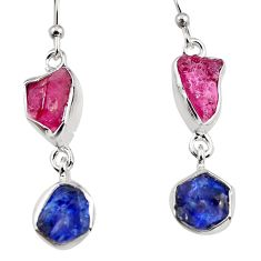 13.18cts natural pink ruby rough sapphire rough 925 silver earrings p94802