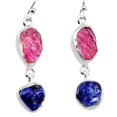 925 silver 15.53cts natural pink ruby rough sapphire rough earrings p94809