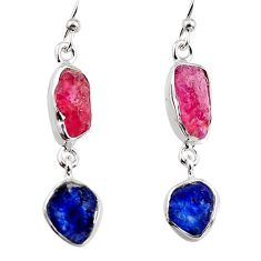 13.13cts natural pink ruby rough sapphire rough 925 silver earrings p94815