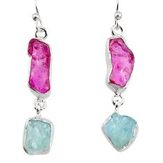 16.03cts natural pink tourmaline rough 925 silver dangle earrings p94816