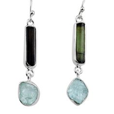 15.55cts natural black tourmaline rough 925 silver dangle earrings p94821