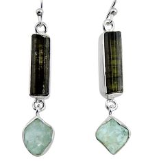 16.54cts natural black tourmaline rough 925 silver dangle earrings p94822