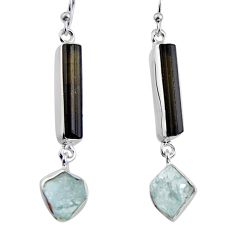 16.87cts natural black tourmaline rough 925 silver dangle earrings p94823