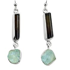925 silver 15.58cts natural black tourmaline rough dangle earrings p94824