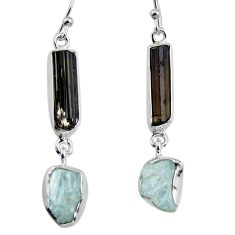 15.43cts natural black tourmaline rough 925 silver dangle earrings p94825