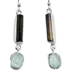 14.45cts natural black tourmaline rough 925 silver dangle earrings p94826