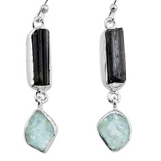 925 silver 15.02cts natural black tourmaline rough dangle earrings p94827