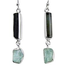 15.02cts natural black tourmaline rough 925 silver dangle earrings p94828