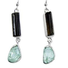 16.87cts natural black tourmaline rough 925 silver dangle earrings p94829