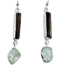 925 silver 16.87cts natural black tourmaline rough dangle earrings p94830