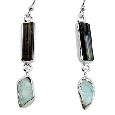 14.47cts natural black tourmaline rough 925 silver dangle earrings p94831
