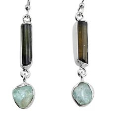 13.18cts natural black tourmaline rough 925 silver dangle earrings p94832