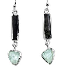 925 silver 13.56cts natural black tourmaline rough dangle earrings p94833