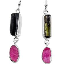 925 silver 14.45cts natural black tourmaline rough dangle earrings p94836