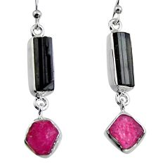 14.14cts natural black tourmaline rough 925 silver dangle earrings p94840