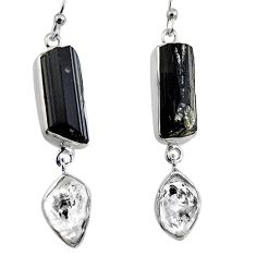 925 silver 20.33cts natural black tourmaline rough dangle earrings p94847