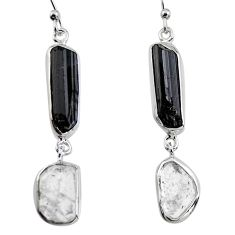 16.54cts natural black tourmaline rough 925 silver dangle earrings p94848