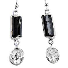 16.87cts natural black tourmaline rough 925 silver dangle earrings p94852