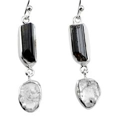 14.47cts natural black tourmaline rough 925 silver dangle earrings p94854