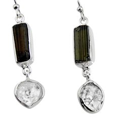 925 silver 14.09cts natural black tourmaline rough dangle earrings p94855