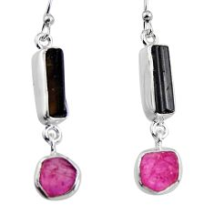 12.62cts natural black tourmaline rough 925 silver dangle earrings p94856