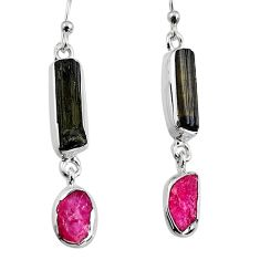 12.07cts natural black tourmaline rough 925 silver dangle earrings p94857