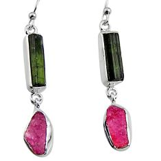 14.14cts natural black tourmaline rough 925 silver dangle earrings p94858