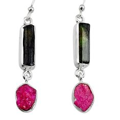 925 silver 13.15cts natural black tourmaline rough dangle earrings p94859