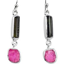 11.74cts natural black tourmaline rough 925 silver dangle earrings p94861
