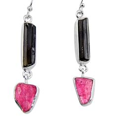 16.85cts natural black tourmaline rough 925 silver dangle earrings p94862