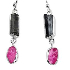 14.14cts natural black tourmaline rough 925 silver dangle earrings p94863