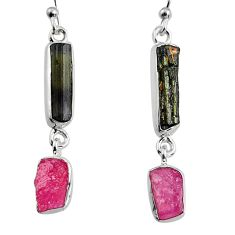 925 silver 13.15cts natural black tourmaline rough dangle earrings p94864