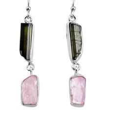 16.03cts natural black tourmaline rough 925 silver dangle earrings p94866