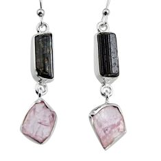 925 silver 15.02cts natural black tourmaline rough dangle earrings p94867