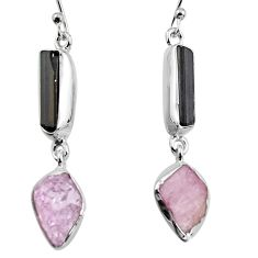 14.14cts natural black tourmaline rough 925 silver dangle earrings p94868