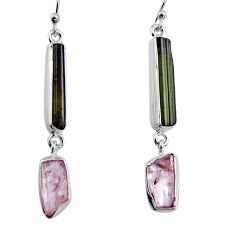 15.53cts natural black tourmaline rough 925 silver dangle earrings p94869