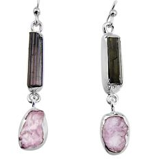 13.97cts natural black tourmaline rough 925 silver dangle earrings p94870