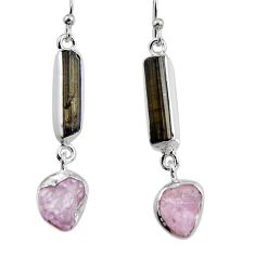 925 silver 14.62cts natural black tourmaline rough dangle earrings p94871