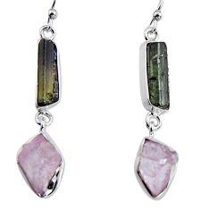 16.06cts natural black tourmaline rough 925 silver dangle earrings p94872