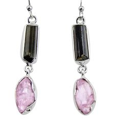 15.55cts natural black tourmaline rough 925 silver dangle earrings p94873