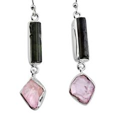 925 silver 18.74cts natural black tourmaline rough dangle earrings p94875