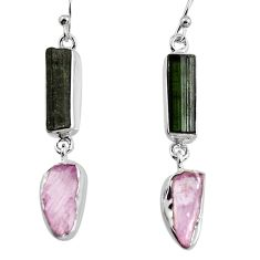 15.55cts natural black tourmaline rough 925 silver dangle earrings p94876