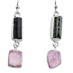 925 silver 15.55cts natural black tourmaline rough dangle earrings p94879