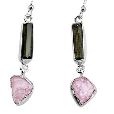 15.02cts natural black tourmaline rough 925 silver dangle earrings p94880