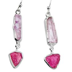 13.66cts natural pink kunzite rough 925 silver dangle earrings p94883
