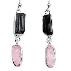 925 silver 14.14cts natural pink kunzite rough dangle earrings jewelry p94896