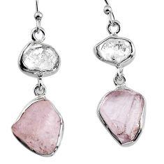925 silver 15.02cts natural pink morganite rough dangle earrings p94908