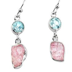10.32cts natural pink morganite rough topaz 925 silver dangle earrings p94932