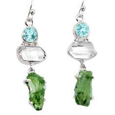 17.22cts natural green moldavite (genuine czech) 925 silver earrings p95021
